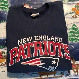 New England Patriots sweatshirt.